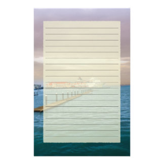 Cruise Ship At The Pier Lined Stationery