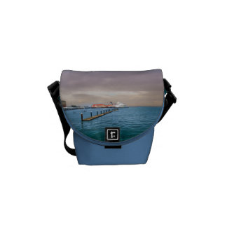 Cruise Ship At The Pier Messenger Bags