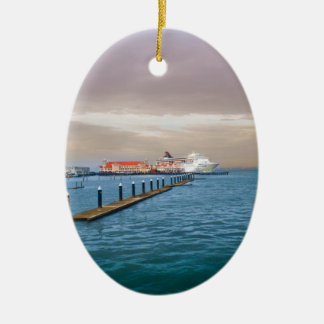 Cruise Ship At The Pier Double-Sided Oval Ceramic Christmas Ornament