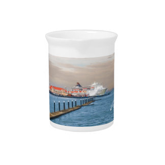 Cruise Ship At The Pier Drink Pitchers