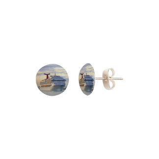 Cruise Ship at Twilight Earrings