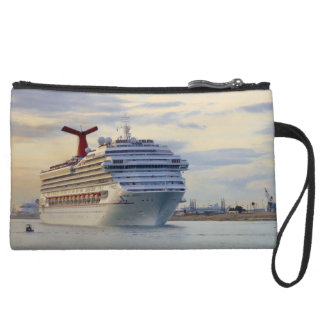 Cruise Ship at Twilight Leaves Port Suede Wristlet Wallet
