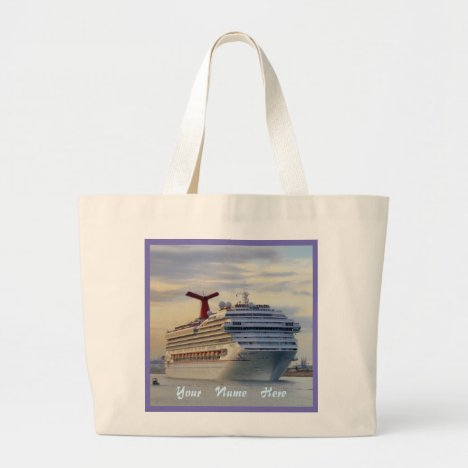 Cruise Ship at Twilight Pretty Personalized Large Tote Bag