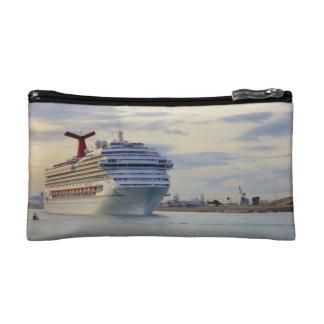Cruise Ship at Twilight Travel Makeup Bag