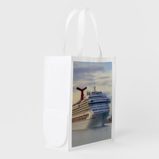Cruise Ship at Twilight Two Sided Reusable Grocery Bag