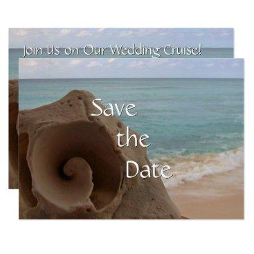 Beach Themed Cruise Ship Beach Wedding Save the Date Seashell Card