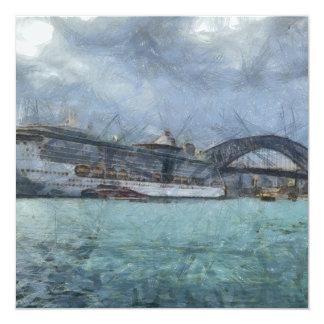 Cruise ship below Sydney Harbour Bridge 5.25x5.25 Square Paper Invitation Card