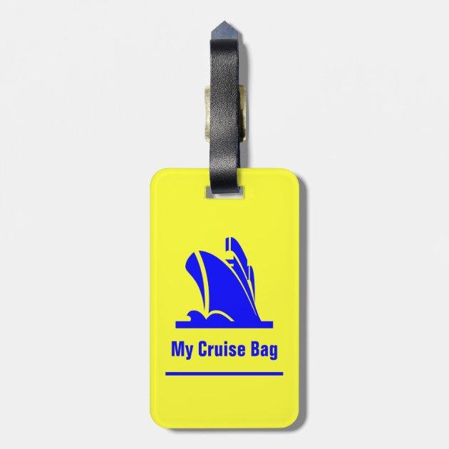 Cruise Ship Blue And Yellow Luggage Tag | Zazzle