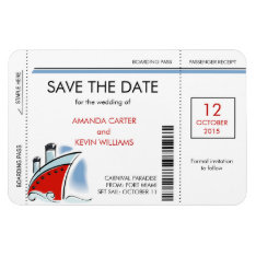 Cruise Ship Boarding Pass Save The Date Magnets at Zazzle
