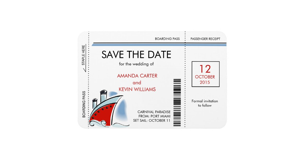 Cruise Ship Boarding Pass Save The Date Magnets Zazzle