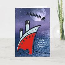 Cruise Ship - Boat at Sea   Santa flying over head Holiday Card