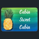 """Cruise Ship Cabin Door Sign Pineapple Magnet<br><div class=""""desc"""">Beautiful cruise ship stateroom cabin door magnet for traveling around the world. Colorful watercolor design accented with a sunny yellow pineapple. Cabin Sweet Cabin white text message can be customized to your own text message. Use cruise ship magnet to help you find your cabin door.</div>"""