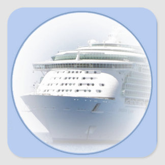 Cruise Ship Cameo on Blue Square Sticker