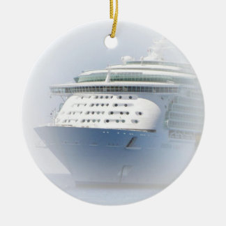 Cruise Ship Cameo Double-Sided Ceramic Round Christmas Ornament