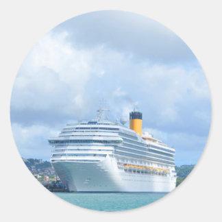 Cruise ship classic round sticker