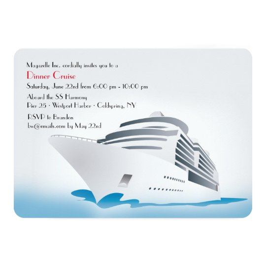 Cruise Ship Dinner Cruise Invitation Zazzlecom - Can you text from a cruise ship