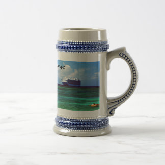 Cruise ship docked at a tropical exotic island beer stein