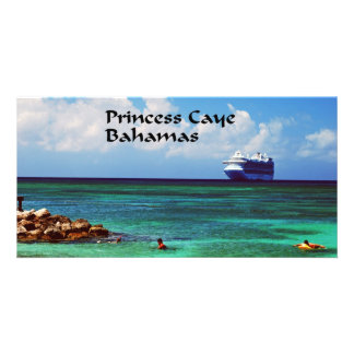 Cruise ship docked at a tropical exotic island card