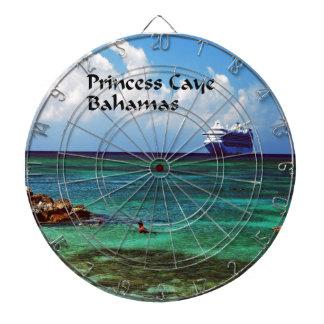 Cruise ship docked at a tropical exotic island dart board
