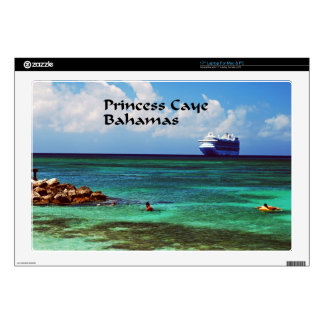 Cruise ship docked at a tropical exotic island decals for laptops
