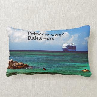 Cruise ship docked at a tropical exotic island lumbar pillow