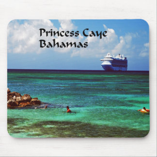 Cruise ship docked at a tropical exotic island mouse pad