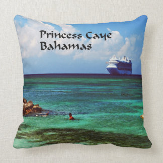 Cruise ship docked at a tropical exotic island throw pillow