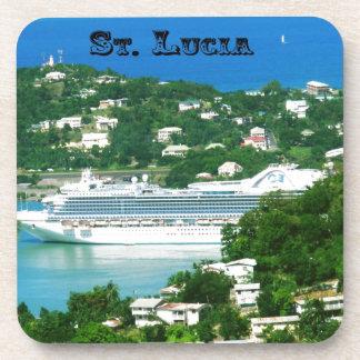 Cruise ship docked at St.Lucia Beverage Coaster