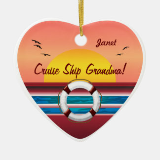 Cruise Ship Grandma - Personalized Heart Double-Sided Heart Ceramic Christmas Ornament
