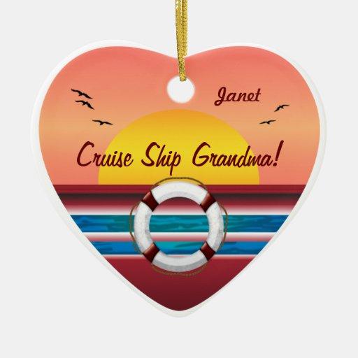Cruise Ship Grandma - Personalized Heart Ornaments
