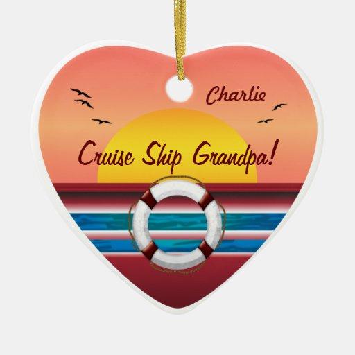 Cruise Ship Grandpa - Personalized Heart Ornament
