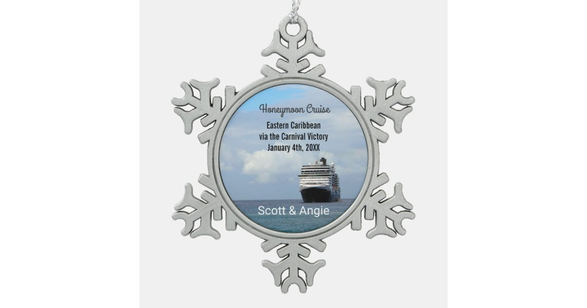 Cruise Ship   Honeymoon Personalized Snowflake Pewter ...