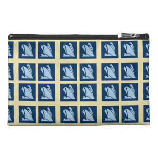 Cruise Ship Icon in Blues Pattern Travel Accessory Bags