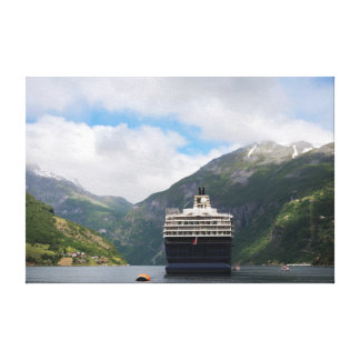 Cruise ship in Geirangerfjord canvas print