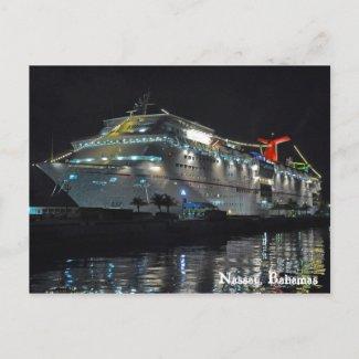 Cruise Ship In Nassau, Bahamas postcard
