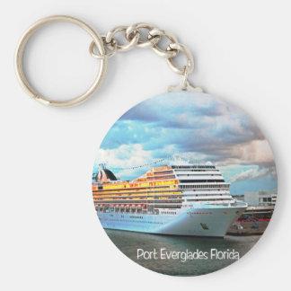Cruise ship in Port Everglades Keychain
