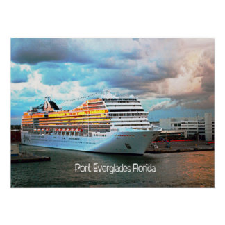 Cruise ship in Port Everglades Poster