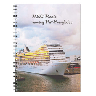 Cruise ship in port spiral notebook