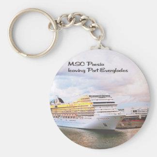 Cruise ship leaving port keychain