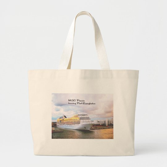 Cruise ship leaving port large tote bag