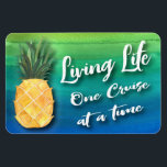 "Cruise Ship Living Life Stateroom Cabin Door Sign Magnet<br><div class=""desc"">Beautiful cruise ship stateroom cabin door magnet for traveling around the world. Colorful watercolor design accented with a sunny yellow pineapple. Living Life One Cruise at a time handwritten typography text. Seas the Day and enjoy your favorite cruise to a tropical island or other part of this great big world....</div>"