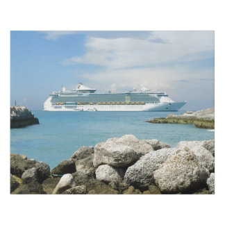 Cruise Ship Off CocoCay Faux Canvas Print