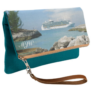 Cruise Ship off CocoCay Monogrammed Clutch
