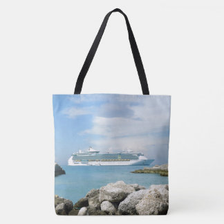 Cruise Ship Off CocoCay Tote Bag