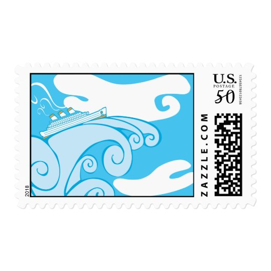 Cruise Ship on a Tsunami. Postage
