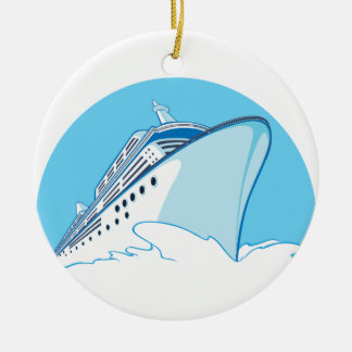 Cruise Ship Double-Sided Ceramic Round Christmas Ornament
