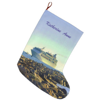 Cruise Ship Passing Jetties Personalized Large Christmas Stocking