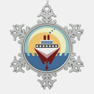Cruise Ship Pewter Snowflake Ornament