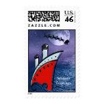 Cruise Ship Sailing + Christmas Santa Overhead Postage