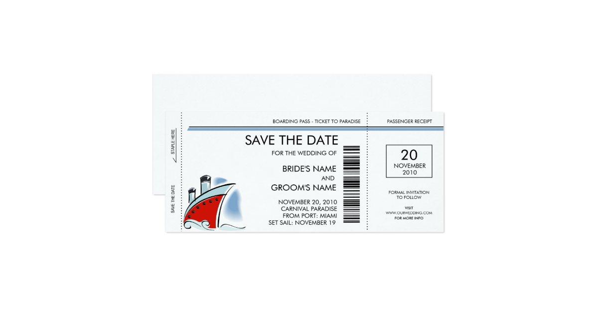 cruise ship save the date invitations zazzle